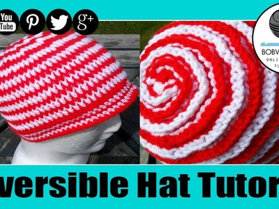 Crochet Reversible Ribbed Spiral Unisex Hat Tutorial