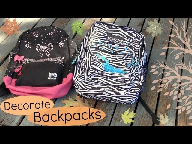 Decorate Backpacks. Bookbags. Back to School DIY