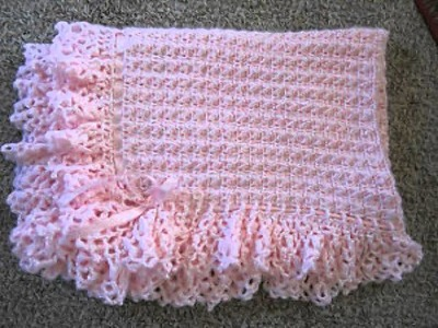 Hand Knitted Baby Blanket With Pink Ribbon