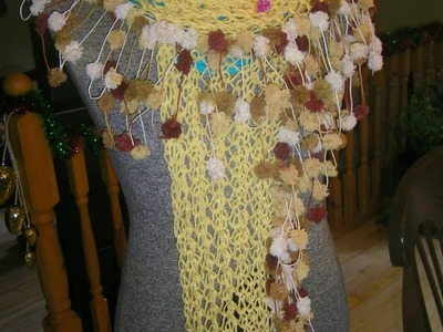 How to Knitt a Scarf with pom pom yarn