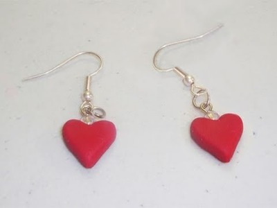 How to make polymer clay heart shaped earrings - EP