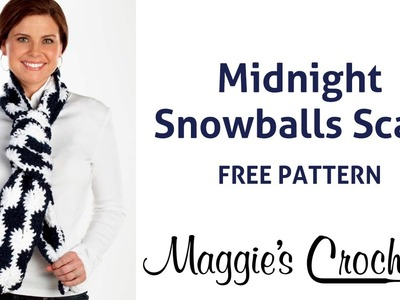 Midnight Snowball Scarf Free Crochet Pattern - Right Handed