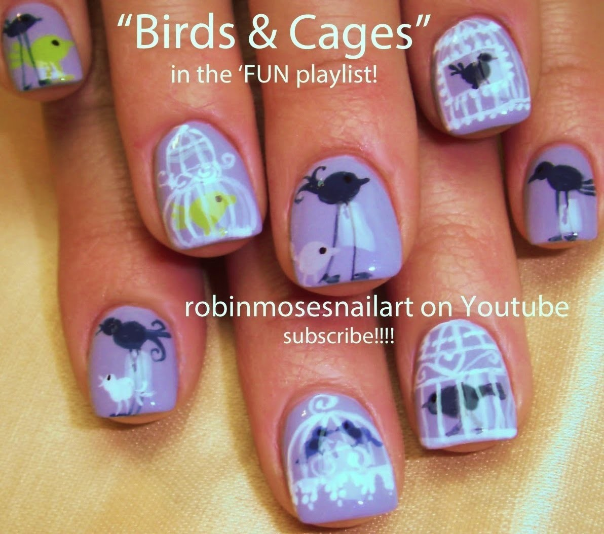 Nail Art Tutorial | Easy Bird Nails | DIY Cute Birdcage Nail Art
