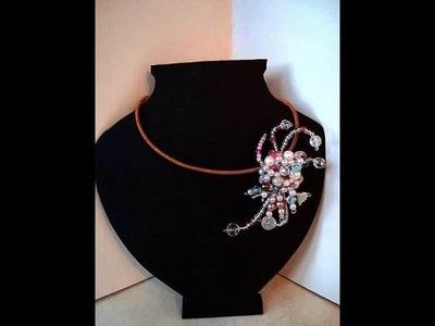 BEADED CLUSTER PENDANT, brooch, headband accessory, or barrette, great wedding item.