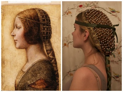Collaboween: DIY Hair Snood inspired by Da Vinci's La Bella Principessa.