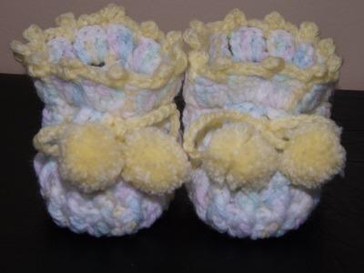 Crochet Baby Booties  part of the set.