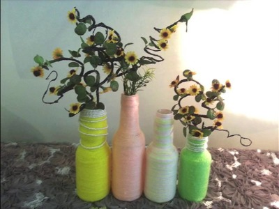 DIY Home or Room Decoration. Recycle Old Bottle Into Flower Vase