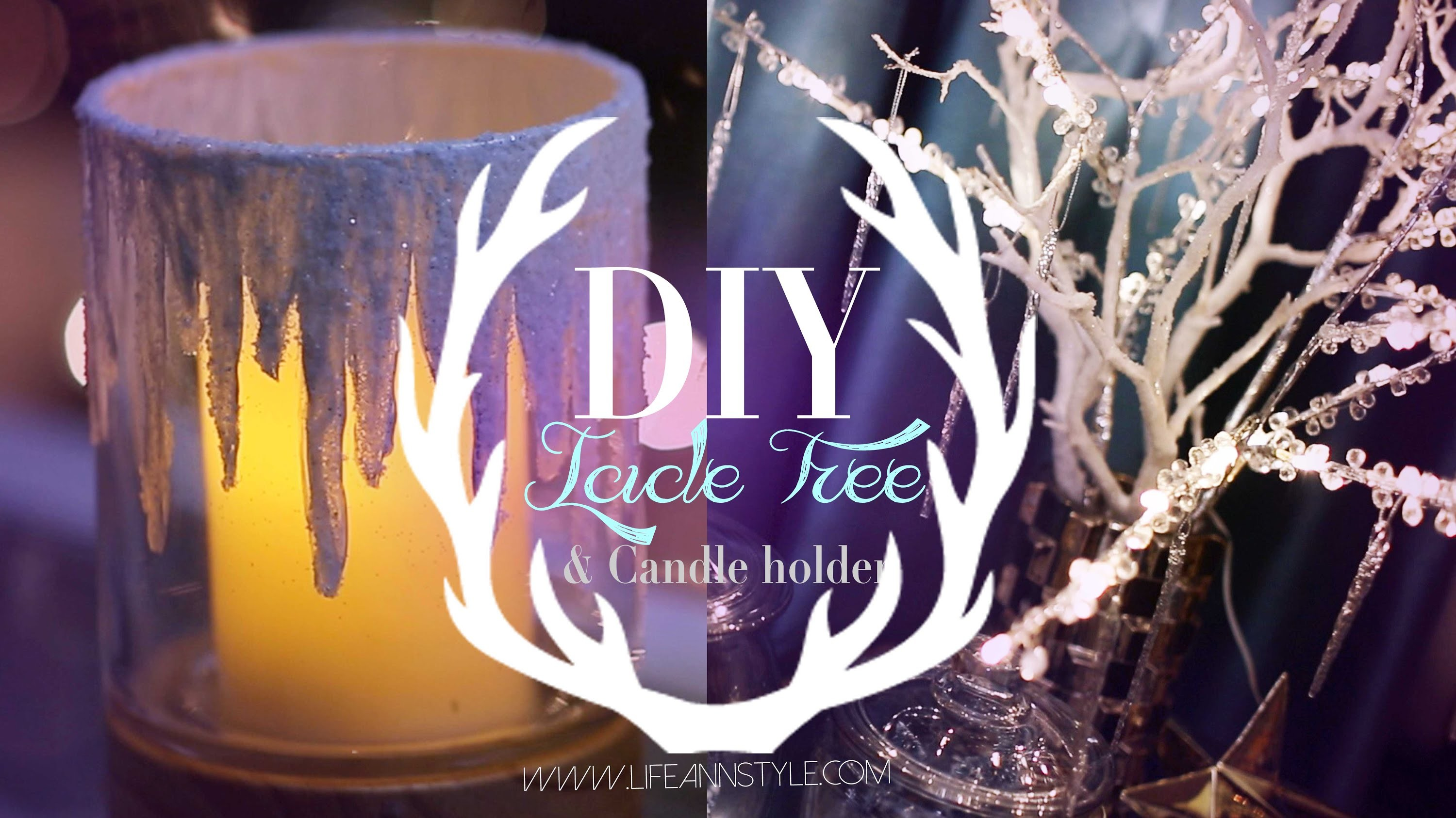 DIY Icicle Branches & Frosted Candle Holders | #DIYMAS | ANNEORSHINE