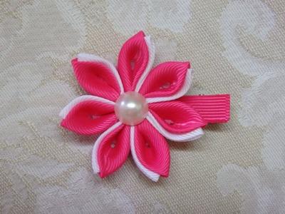Diy kanzashi flower, kanzashi hair clip tutorial, ribbon flowers,kanzashi flores de cinta