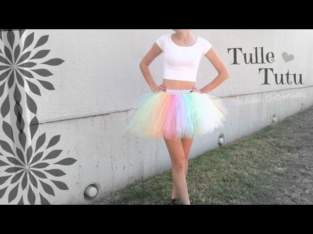 No Sew Tutu - Tulle Skirt How To - Halloween Slip knot Skirt DIY