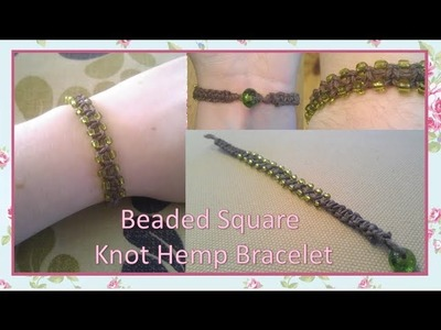 Beaded Square Knot Hemp Bracelet Tutorial