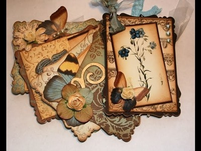 Beautiful Vintage Botanical's and butterflies mini chipboard scrapbook album