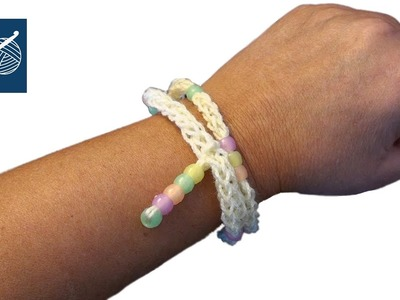 Crochet Bracelet with Pony Beads - Left Hand Crochet Geek