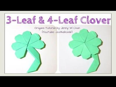 DIY 3-Leaf Clover.4-Leaf Clover Shamrock Origami Clover, Easy St. Patrick's Day Paper Crafts Kids