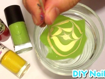 GREEN & GOLD STAR ★ DIY Nail Art ★ Water Marble Tutorial ★