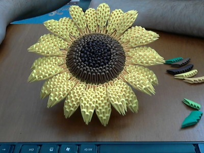 How to make 3D Origami Sunflower part1