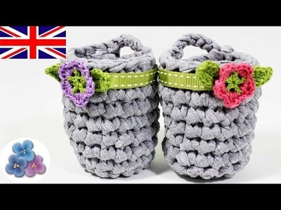 How to make a crochet Basket DIY Crochet Basket with Crochet Flowers Mathie