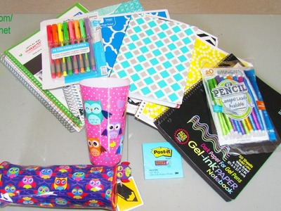 HUGE 2014 Back To School Supply Haul - Owl Case, Gel Pens, Locker Shelf, Cool Notebooks Craft DIY