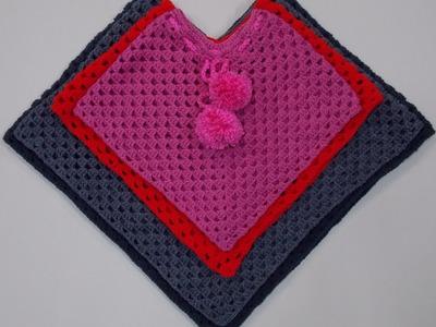 Large - X Large  Crochet Poncho Tutorial