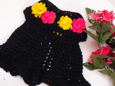 CROCHET  FLORAL BABY DRESS-1
