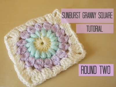 CROCHET: Sunburst granny square tutorial, ROUND TWO | Bella Coco