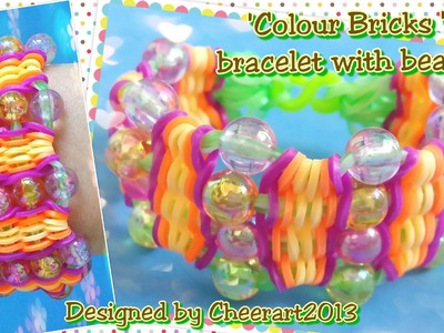 Diy loom bands ' Colour-Brick' bracelet with beads rainbow loom tutorial