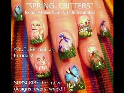 DIY Nails! 5 Easy Nail Designs! Spring Critter Art