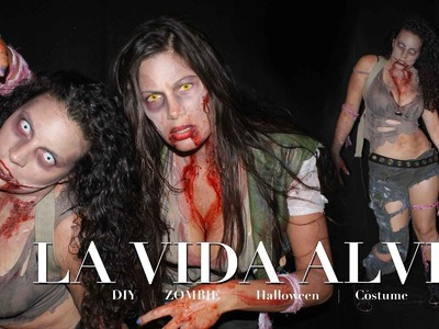 DIY Walking Dead inspire ZOMBIE Costume and Makeup!!! No sewing!!! GIVEAWAY!!!