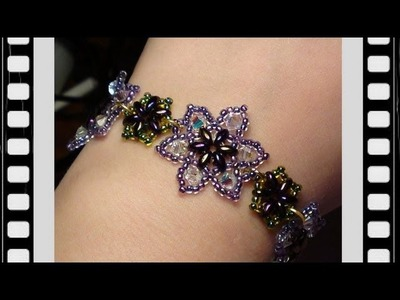 Easy Beaded Flower Bracelet Beading Tutorial by HoneyBeads1 (Video tutorial)