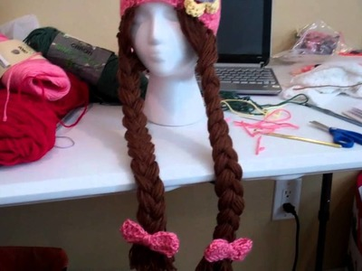 Crochet Girls beanie with Long hair