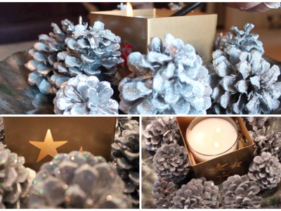 DIY Christmas Centerpiece, Chrome and Glitter Pinecones. #CraftyChristmas Video 3!