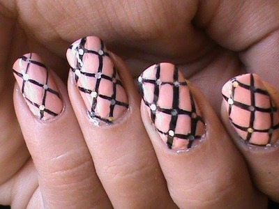 Fishnet nails tutorial -- Easy DIY striping Nail Polish Designs Video Nude Pink Long Nails
