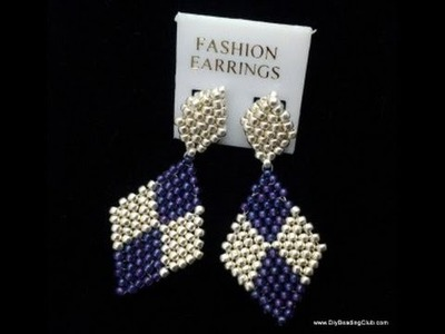 Learn how to make diamond shaped earrings using brickstitch pattern