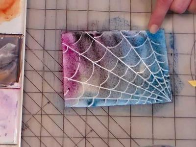 Wax paper spiderweb watercolor