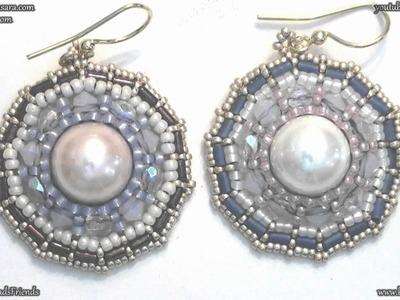 BeadsFriends: Beaded Earrings - Wheel Earrings with seed beads, bugles and Swarovski bicones