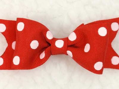 DIY How to make Polka Dot Bow,Tutorial, Grosgrain bow #1