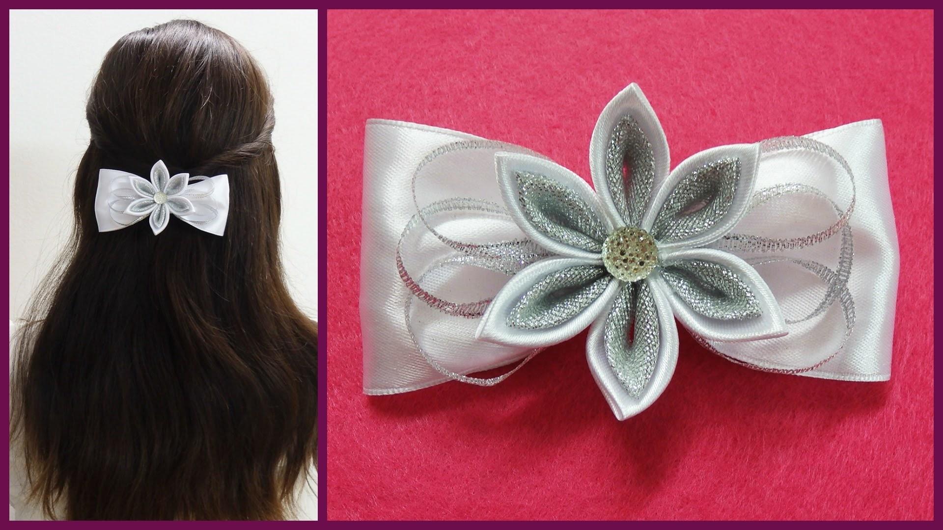 DIY kanzashi hair bow,how to make hair bow,kanzashi tutorial