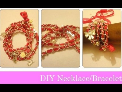 DIY Ribbon Chain Necklace. Bracelets SUPER EASY IN 1 MIN!