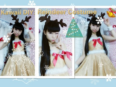 Holiday DIY - How to Make a Cute Christmas Reindeer costume.dress + antler hairclips ( Easy)