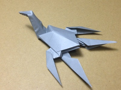 How to Make a Paper Dinosaur. Origami Plesiosaurus