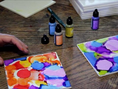 How to Use Alcohol Ink on Ceramic Tiles:  Cool DIY  Home Decorating Idea