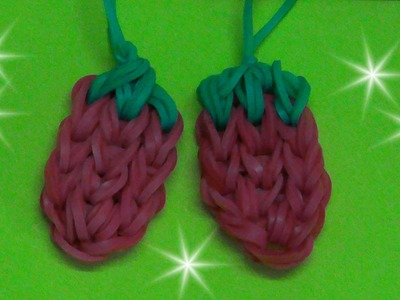 Rainbow Loom - Charms Gomitas- Strawberry Charm - Without Loom - Fork Crochet Hook, Diy Charms