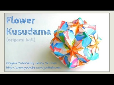 (REAL-TIME ASSEMBLY) Origami Flower Kusudama - How to Fold an Origami Ball - Paper Crafts - Ornament