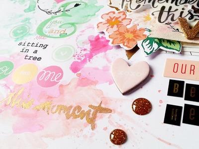 Scrapbooking Process- Pinkfresh Studio, Crate Paper, Rub Ons and Watercolor