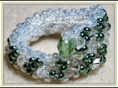 "Silence Tutorial  :Beaded ""  Greeny  Ring ""  by La Perla Benaatta"