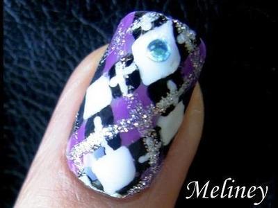 Back to School Nail Art Tutorial Diamond Plaid Woollies Pattern Design for Short Nails DIY