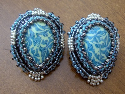 BeadsFriends: Beaded Embroidery Earrings - Post earrings with teardrop polymer clay cabochons