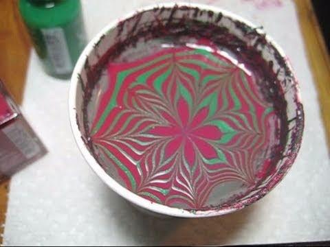 Christmas Poinsettia Water Marble Nail Art Tutorial