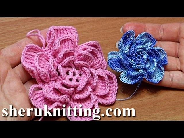 Crochet Fluffy Flower Tutorial 4 Part 1 of 2 Como hacer una flor de ganchillo facil paso a paso