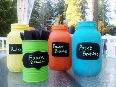 DIY How to Make Chalkboard Containers Reusing Jars & Tin Cans